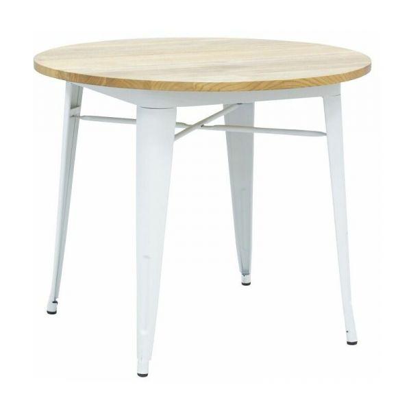 table ronde industrielle en metal blanc et bois d orme huile