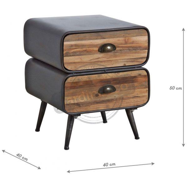 table de nuit en metal et tiroirs bois