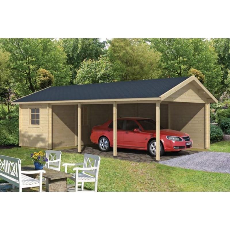 Carport Garage Voiture En Kit Bois EVER Avec Remise 33m2