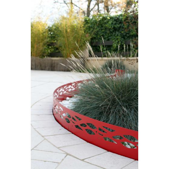 bordure de jardin en acier rouge rubis ajouree h 18 cm