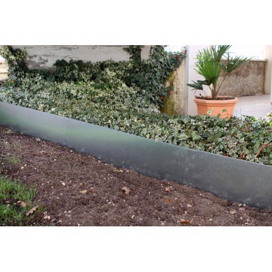 bordure de jardin en acier galvanise brut h 25 cm