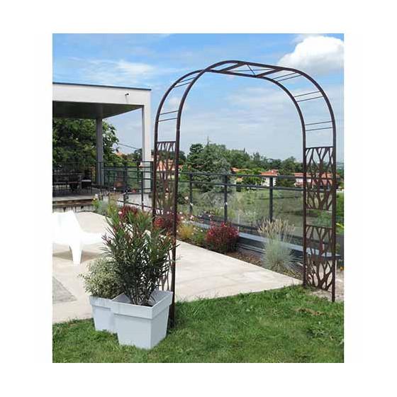 arche de jardin double decor vegetal en acier fer vieilli