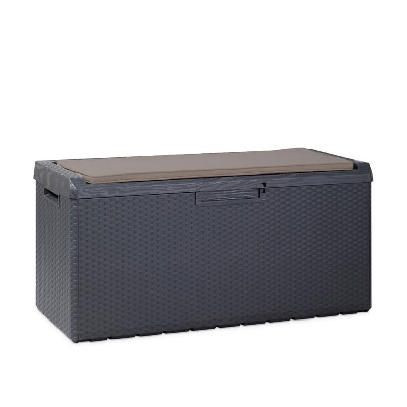coffre de rangement exterieur en resine tressee gris 350 l