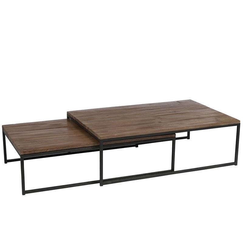 ensemble 2 tables gigognes metal bois