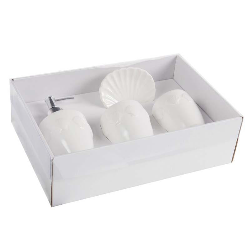 coffret accessoires salle de bain ceramique blanc