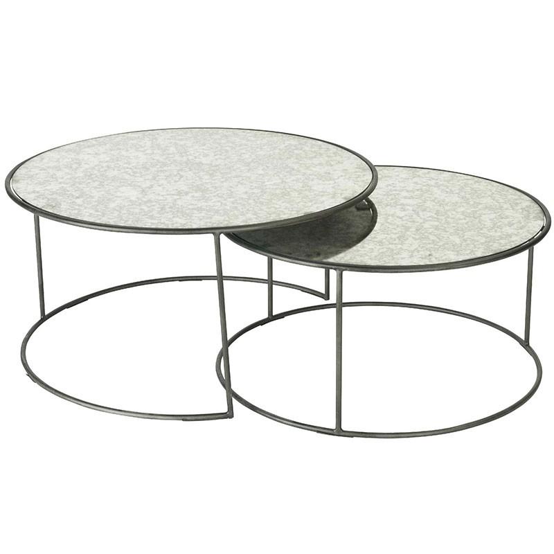 ensemble table basse gigognes verre metal 80x40cm