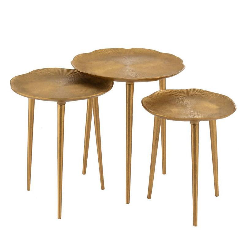 set 3 tables d appoint metal dore 45x40x36 cm
