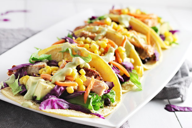 Spicy Salmon Tacos w/ Avocado Lime Dressing!