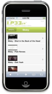 LP33 Mobile iPhone Moby Featured Artist Channel