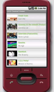 LP33.TV Android App Channel Video Menu