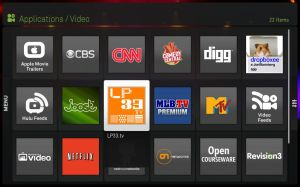 LP33.TV App in Boxee Applicaiton Menu
