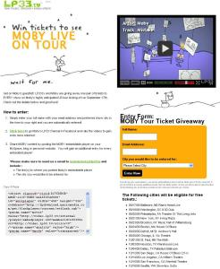 LP33.TV Moby Ticket Giveaway Site