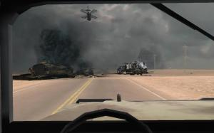 Virtual Iraq PTSD Therapy System Humvee Driver View With Destroyed Vehicles Ahead