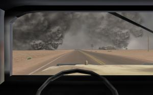 Virtual Iraq PTSD Therapy System Humvee With Fires in Distance