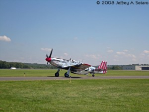 "The ""Betty Jane"" a World War II era North American TP-15C Mustang taxiing."