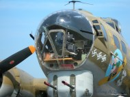 """A close-up view of the nose of Nine O Nine a WWII era B-17G """"Flying Fortress""""."""