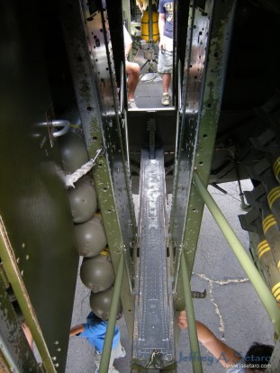 The catwalk through the Aluminum Overcast's bomb bay... It's a tight fit!