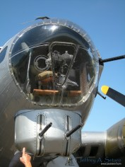 A close-up view of the nose of the Aluminum Overcast..