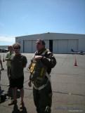 A reenactor dressed as a B-17 pilot.
