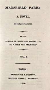 Mansfield Park, frontespizio della prima edizione, 1814