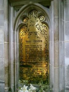 Targa di ottone dedicata a Jane Austen, Cattedrale di Winchester