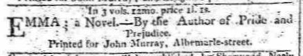 """Annuncio della pubblicazione del romanzo sul """"Morning Chroniche"""" del 23 dicembre 1815, nella sezione """"Books published this day"""""""