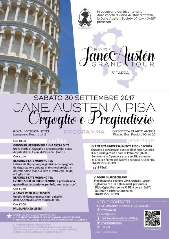 Locandina Jane Austen Grand Tour a Pisa - Orgoglio e pregiudizio