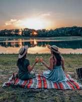 Sunset wine toast
