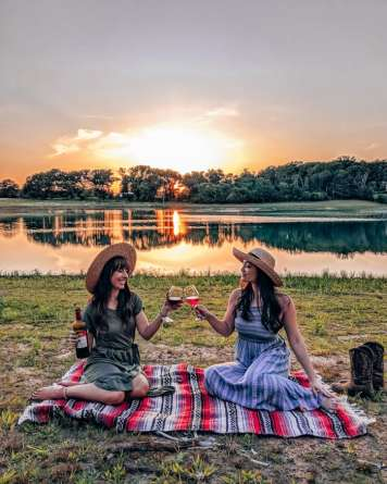 Sunset wine lake view