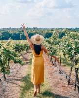 Girl walking through vineyards
