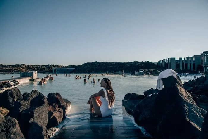 Relaxing at the Blue Lagoon in Reykjavik, Iceland