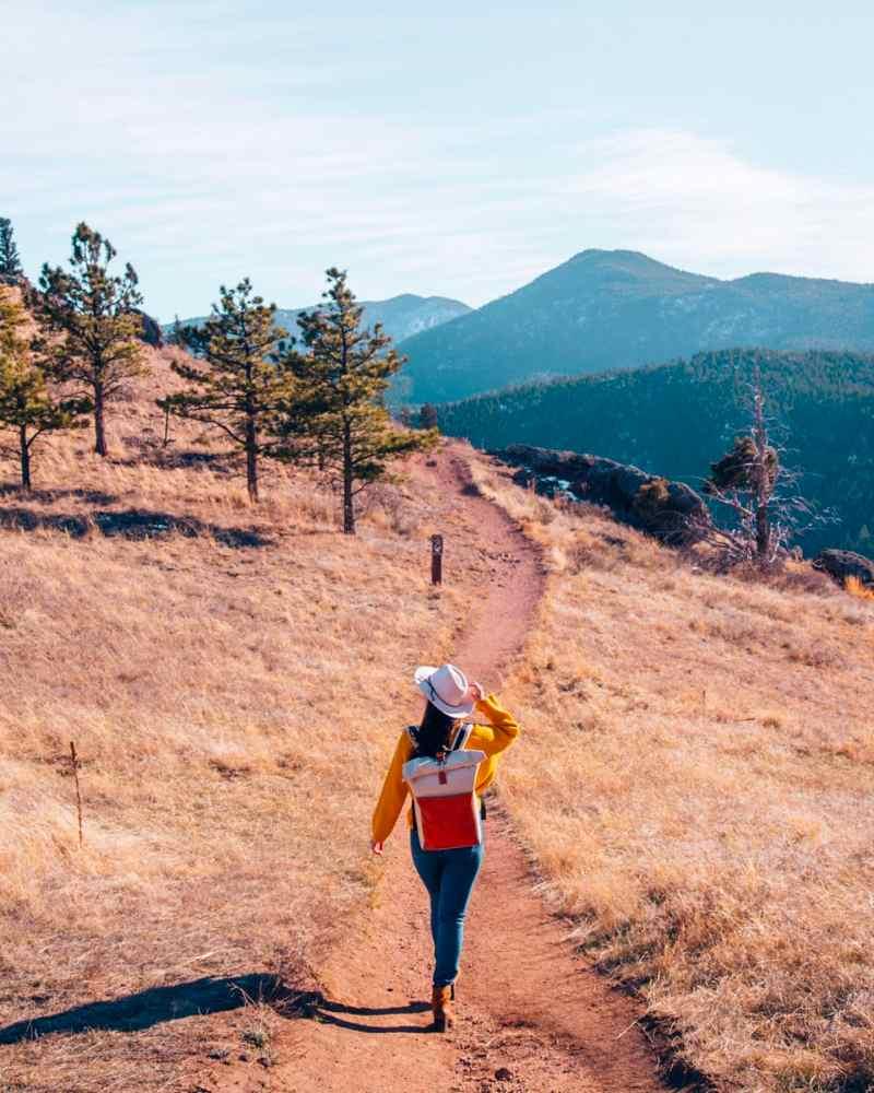 Girl walking trail in Walker Ranch, Boulder, CO