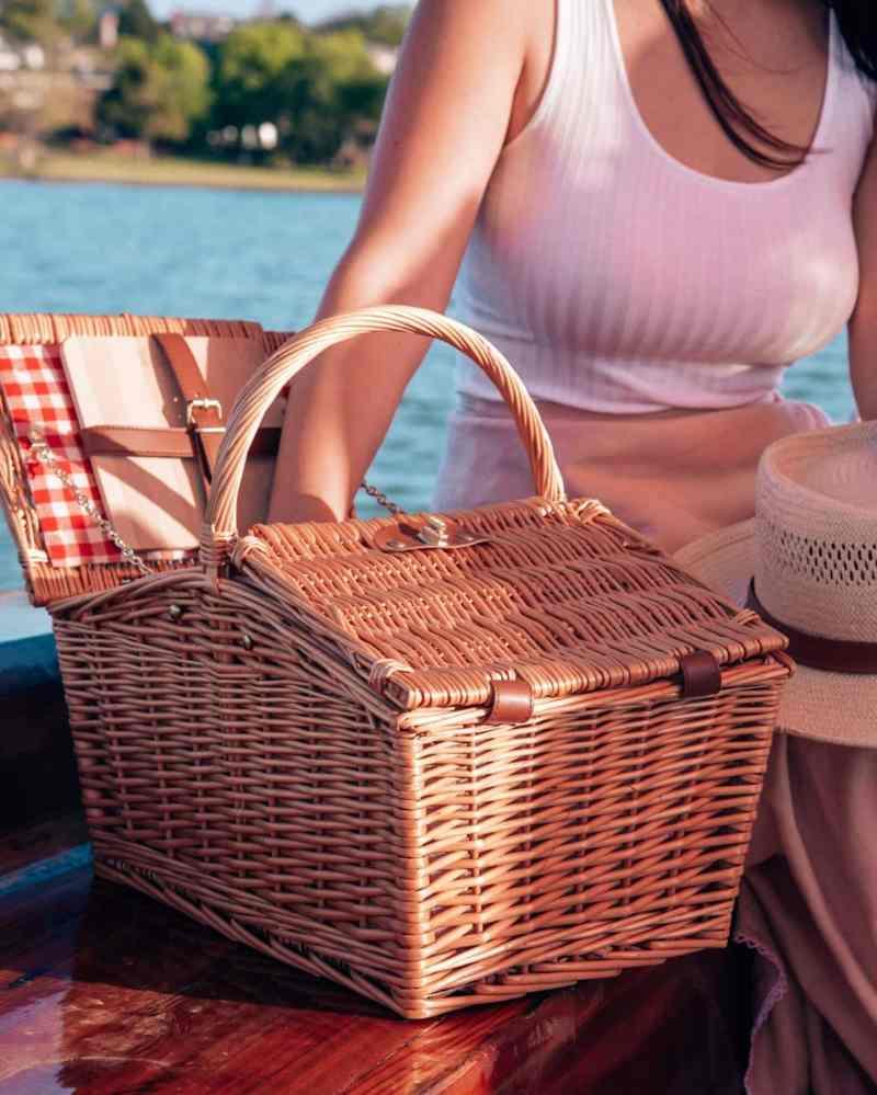picnic basket on a boat