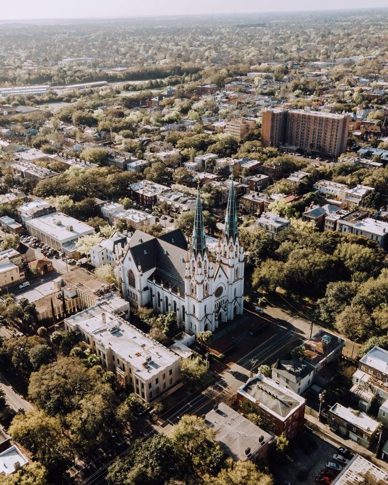 drone shot of downtown Savannah