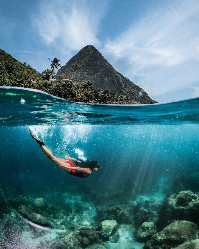 snorkeling in saint lucia in front of Gros Piton