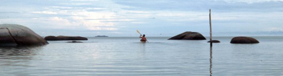 Adventurer Jason Lewis kayaking through the Riau Archipelago, Indonesia