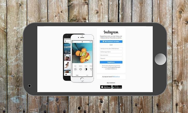 Royalty-Free photo: Instagram App Login Splash Screen Logo on iPhone    PickPik