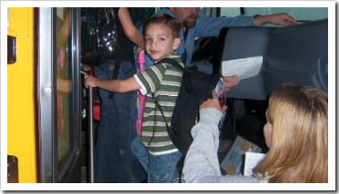 Ryan getting on the bus for his first day of school.
