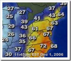 From weather.com at 11:45am EST on Dec 1, 2006
