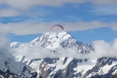 Paraglider over Mt Cook
