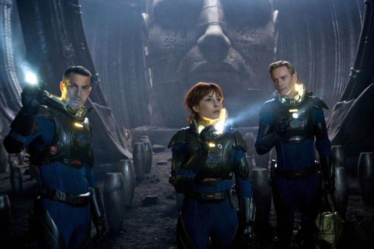 Michael Fassbender, Noomi Rapace and Logan Marshall-Green in Prometheus (2012)