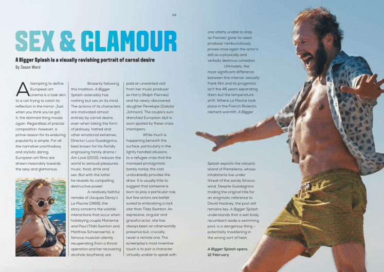 Curzon Magazine feature on A Bigger Splash directed by Luca Guadagnino and starring Dakota Johnson, Tilda Swinton, Ralph Fiennes, Matthias Schoenaerts.