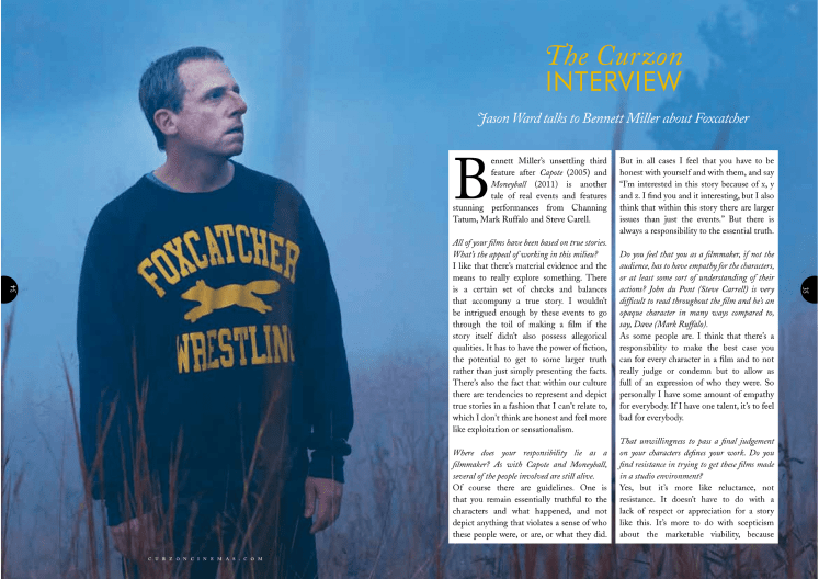 Bennett Miller (Foxcatcher) interview / Curzon Magazine