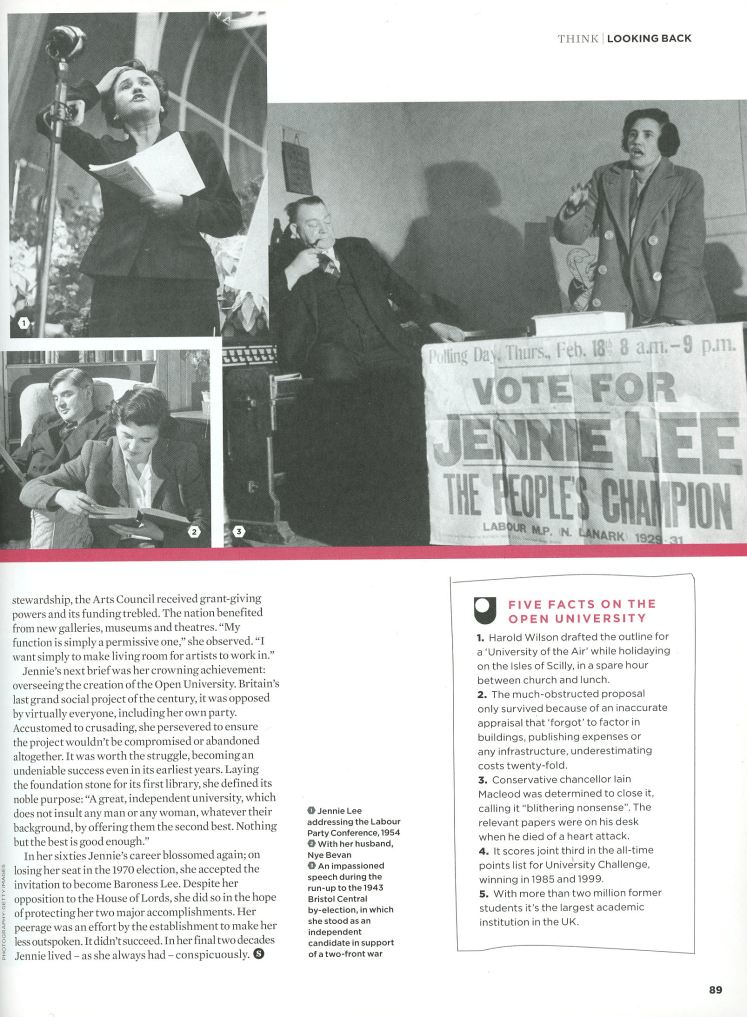 Jennie Lee: The Politician's Life, published in The Simple Things Issue 35