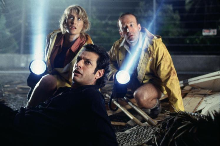 Laura Dern, Jeff Goldblum and Bob Peck in Jurassic Park (1993), directed by Steven Spielberg