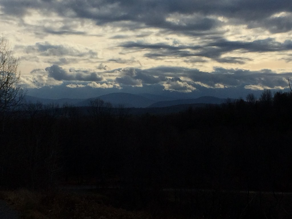 Sunrise in Belcher, looking toward the Green Mountains of Vermont