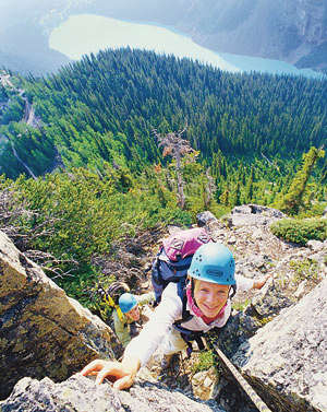 Rock climbing in Banff National Park in the Canadian Rockies.