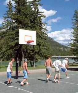 Pick-up hoops at Banff Recreation Grounds, Banff, Alberta, Canada.