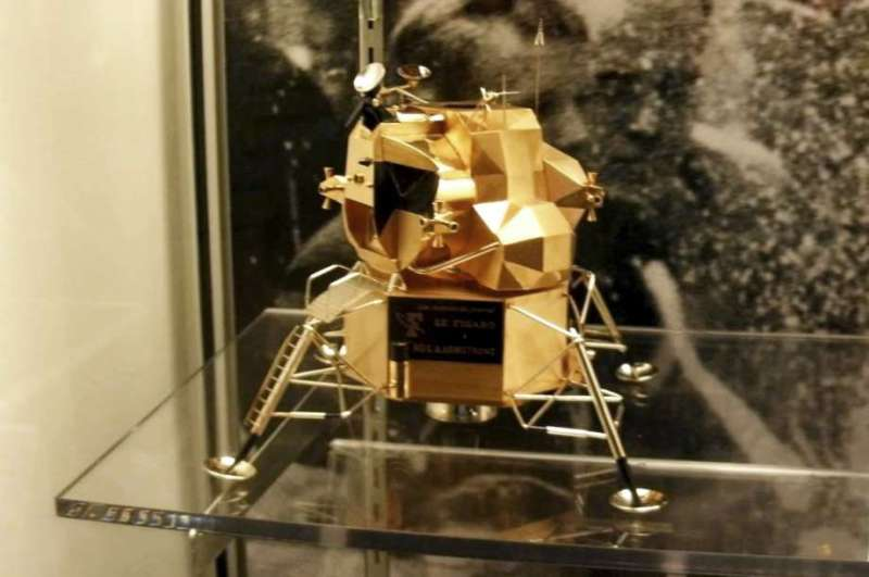 This image provided by Armstrong Air and Space Museum shows a lunar module replica at Armstrong  … <a class=