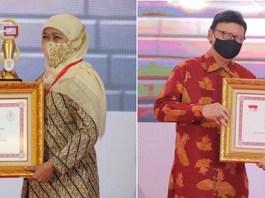 Gubernur Khofifah Raih Dua Penghargaan Terkait Pelayanan Publik di Jatim